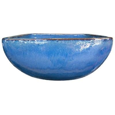 16 in. Lagos Blue Ceramic Bowl Planter