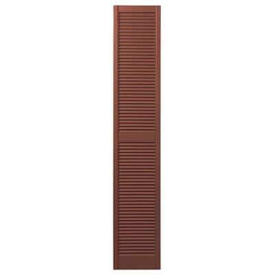 15 in. x 71 in. Open Louvered Polypropylene Shutters Pair in Red