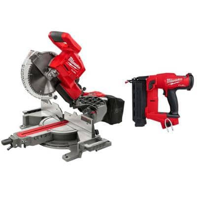 M18 FUEL 18-Volt Lithium-Ion Brushless 10 in. Cordless Dual Bevel Sliding Compound Miter Saw with 18-Gauge Brad Nailer
