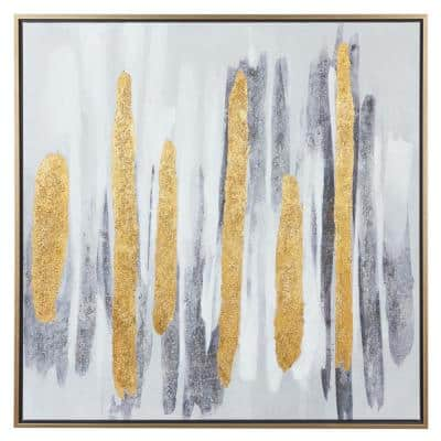 40 in. x 40 in. Canvas Square Gold and Gray Brushed Stripe Abstract Wall Art with Gold Metal Frame
