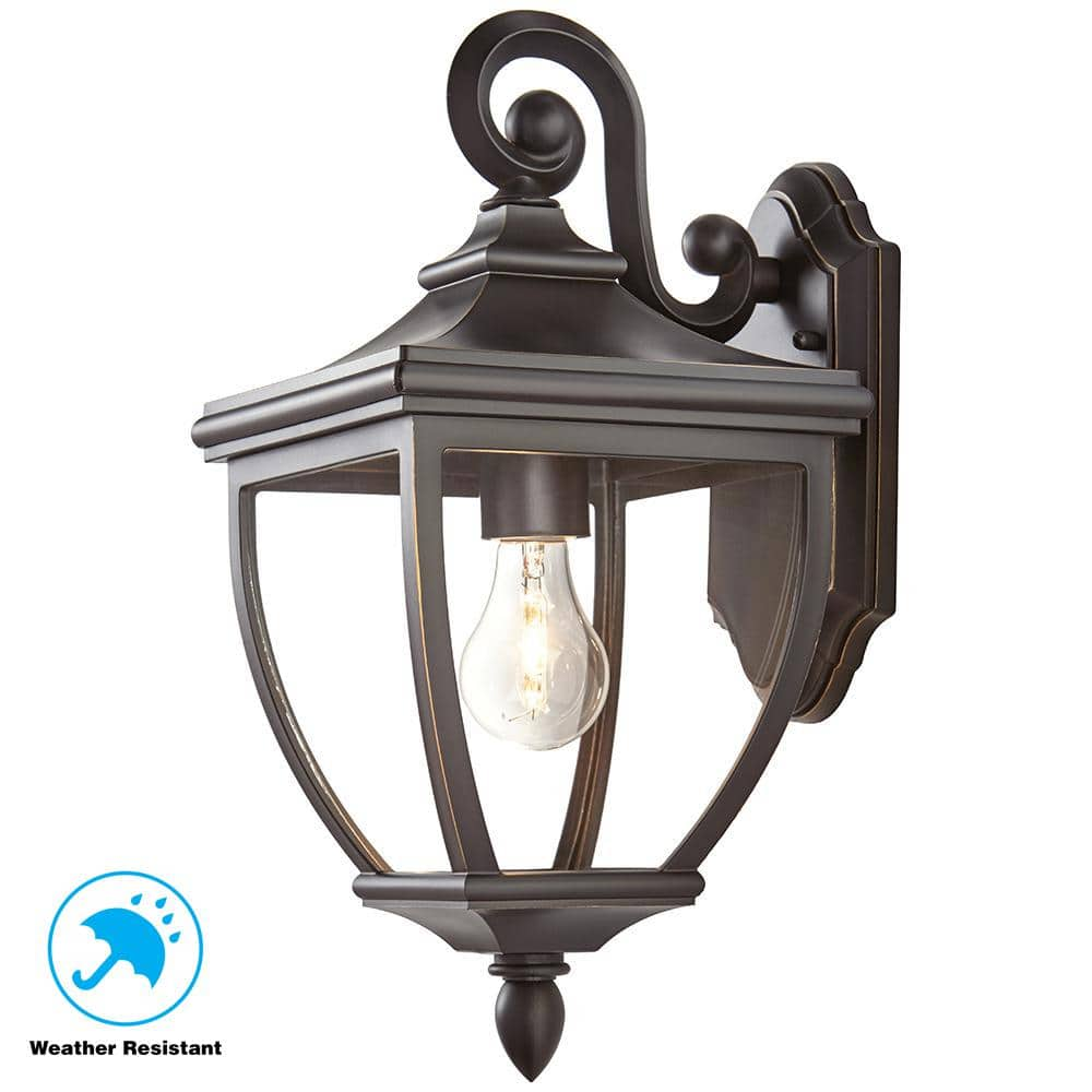 Home Decorators Collection 1 Light Oil Rubbed Bronze Outdoor 8 In Wall Lantern Sconce With Clear Glass 23462 The Home Depot