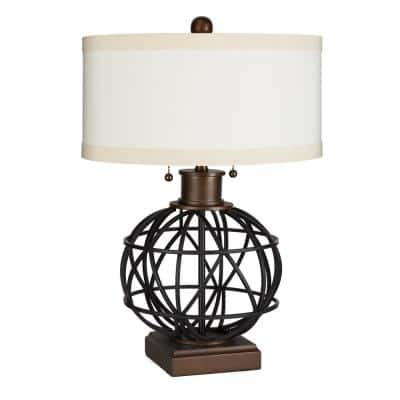 Atlas 23 in. Black Table Lamp with Linen Shade