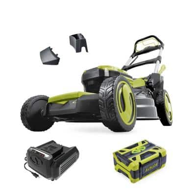21 in. 100-Volt Cordless Battery-Powered Walk-Behind Self Propelled Lawn Mower Kit with 5.0 Ah Battery Plus Charger