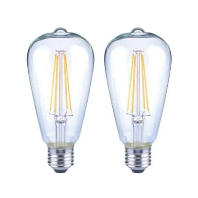 40-Watt Equivalent ST19 Dimmable Clear Glass Filament Vintage Edison LED Light Bulb Soft White (2-Pack)