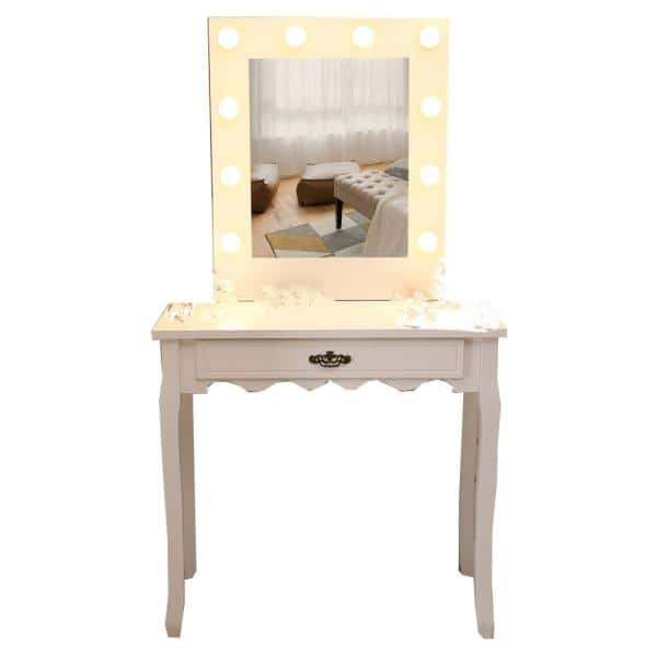 Outo Warm Light Rectangular Mirror, Home Depot Makeup Vanity Mirror With Lights