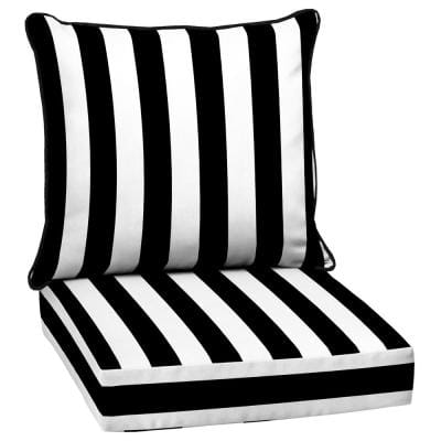 25 in. x 22.5 in. Black Cabana Stripe 2-Piece Deep Seating Outdoor Lounge Chair Cushion