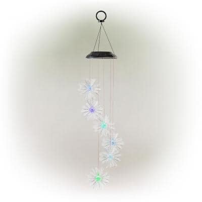 28 in. Outdoor Solar Powered Mobile with Color Changing LED 3D Flowers