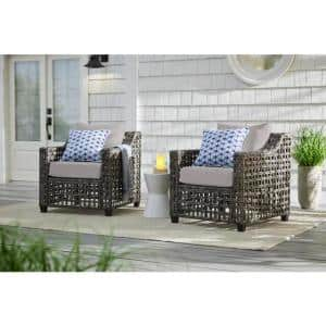 Briar Ridge Brown Wicker Outdoor Patio Deep Seating Lounge Chair with CushionGuard Stone Gray Cushions (2-Pack)