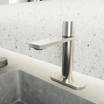 Halsey Single Hole Single-Handle Bathroom Faucet with Deck Plate in Brushed Nickel