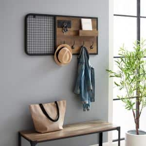 Reclaimed Barnwood Wood and Metal Wall Organizer with Hooks and Grid