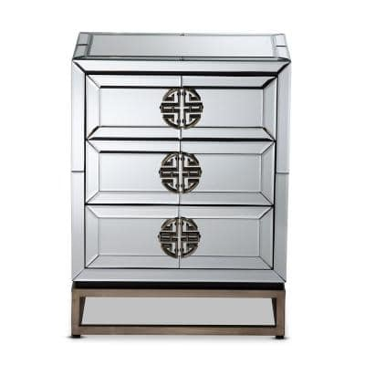 Laken 3-Drawer Mirrored and Sliver Nightstand 26 in. H x 20 in. W x 14 in. D