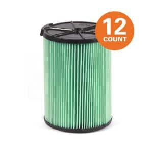 5-Layer HEPA Media Pleated Paper Filter for Most 5 Gal. and Larger Wet/Dry Shop Vacuums(12-Pack)