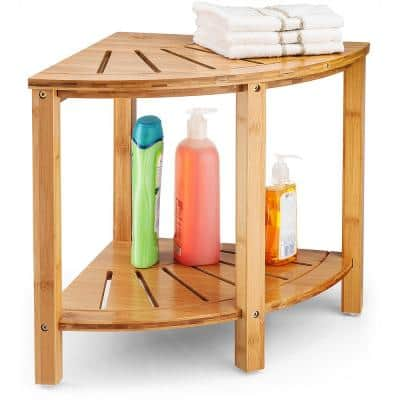 Bamboo Corner Shower Bench with Shelf Space, Perfect for Indoor and Outdoor Use