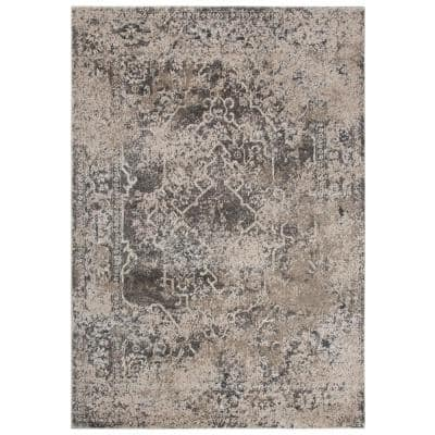 Venice Beige/Brown 7 ft. 10 in. x 9 ft. 10 in. Medallion/Distressed Area Rug