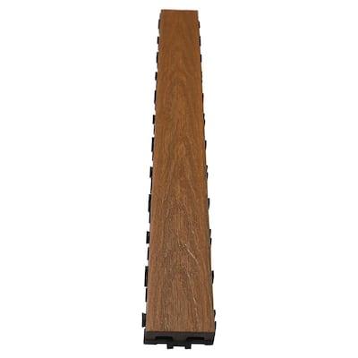 UltraShield Naturale 3 in. x 3 ft. Quick Composite Single Slat Deck Tile in Peruvian Teak (4-Pieces per Box)