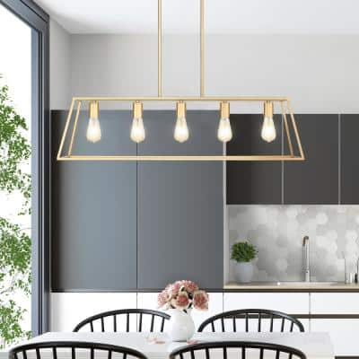 Adele 38 in. 5-Light Brushed Gold Painted Ceiling Pendant Light