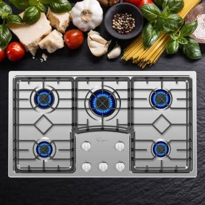 36 in. Recessed Gas Stove Cooktop with 5 Italy SABAF Sealed Burners NG/LPG Convertible in Stainless Steel