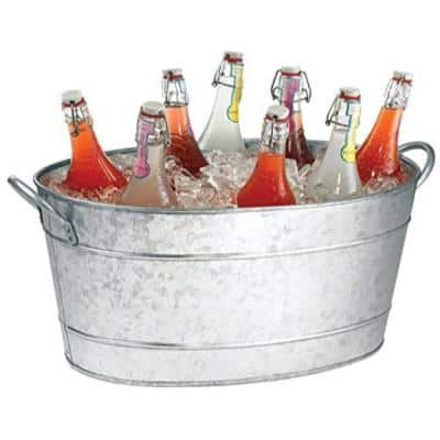 Galvanized Gray Beverage Tub with Handles