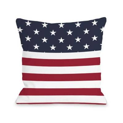 Americana Red White Blue Graphic Polyester 16 in. x 16 in. Throw Pillow