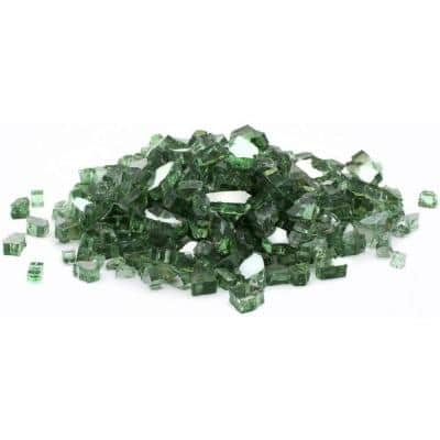 1/2 in. 25 lb. Medium Green Reflective Tempered Fire Glass