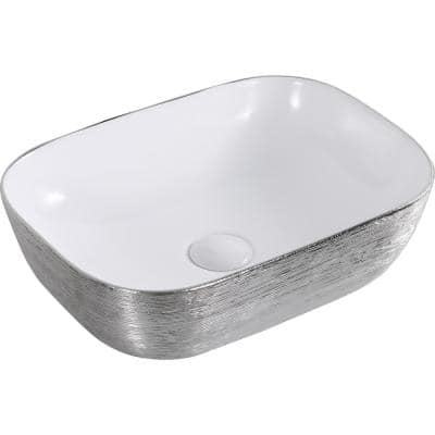 20 in. Above Vanity Counter Bathroom Ceramic Vessel Sink in White with Decorative Art in Silver