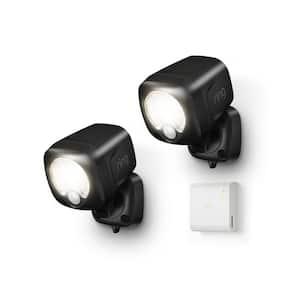 Black Smart Lighting Motion Activated Outdoor Integrated LED Spot Light Battery 2-Pack with Smart Lighting Bridge White