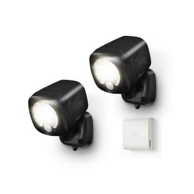 Black Smart Lighting Motion Activated Outdoor Integrated LED Spot Light Battery 2-Pack with Smart Lighting Bridge White