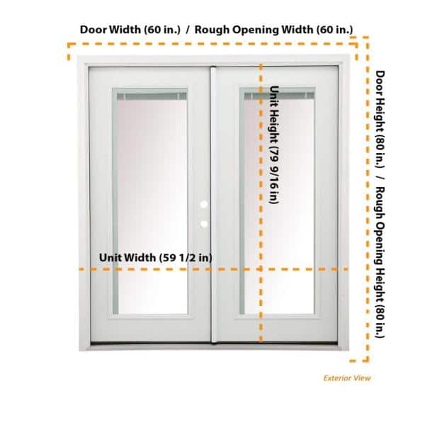 Jeld Wen 60 In X 80 In Primed Steel Left Hand Inswing Full Lite Active Stationary Patio Door W Internal Blinds Thdjw205900476 The Home Depot