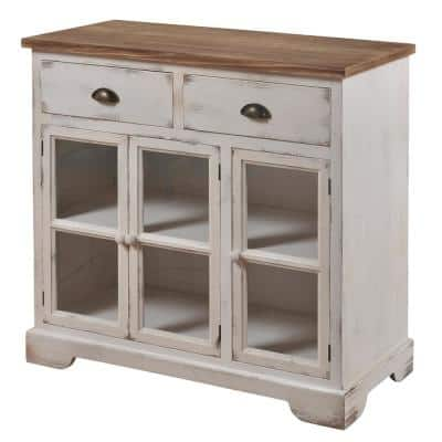 Antique White and Natural Wood Shabby Chic 3-Door 2-Drawer Window Pane Cabinet