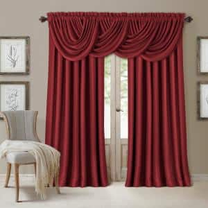 Rouge Faux Silk Rod Pocket Blackout Curtain - 52 in. W x 84 in. L