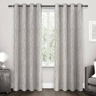 Dove Gray Floral Thermal Blackout Curtain - 52 in. W x 96 in. L