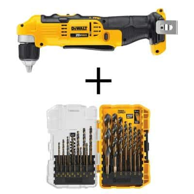 DEWALT 20-Volt MAX Cordless 3/8 in. Right Angle Drill/Driver (Tool-Only) w/ Black and Gold Drill Bit Set (21-Piece)