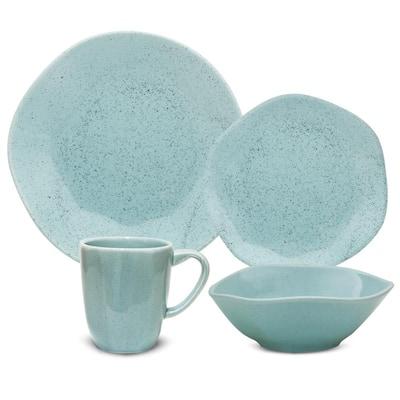 RYO 16-Piece Casual Light Blue Porcelain Dinnerware Set (Service for 4)