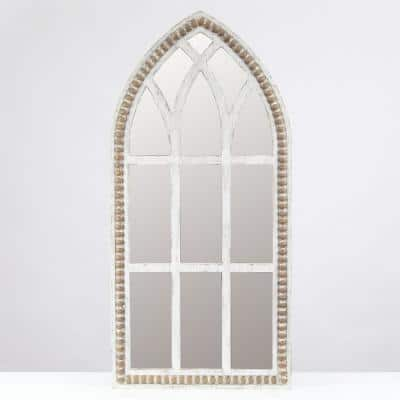 Medium Arch White Modern Mirror (39.4 in. H x 18.9 in. W)