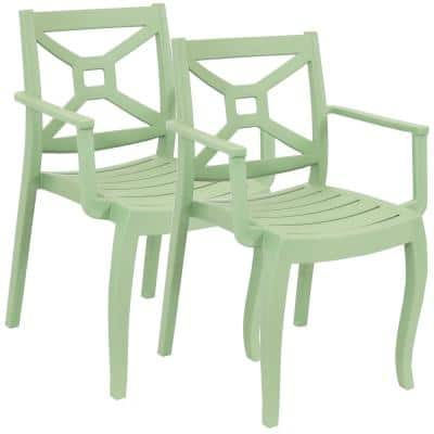 Tristana Plastic Outdoor Patio Arm Chair in Green (Set of 2)