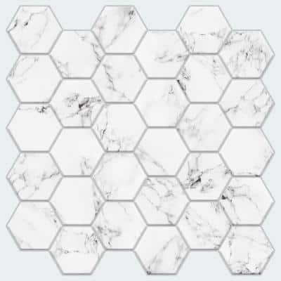 10.5 in x 10.5 in Carrara Marble Hexagon Peel and Stick Backsplash