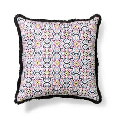 20 in. x 20 in. Palace Tile Outdoor Throw Pillow with Fringe
