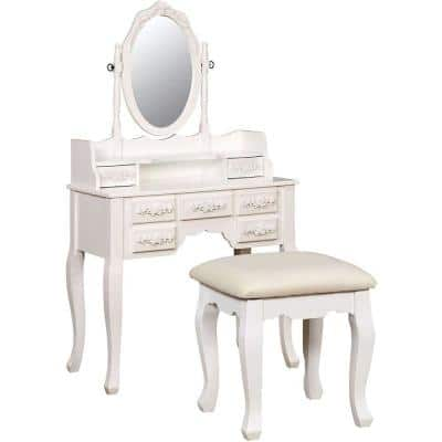 Harriet Traditional White Wooden Vanity Set