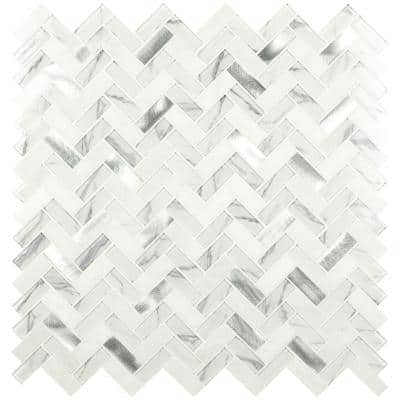Bytle Bianco Herringbone 12 in. x 12 in. x 6 mm Textured Multi-Surface Mesh-Mounted Mosaic Tile ( 15 sq. ft. / case )