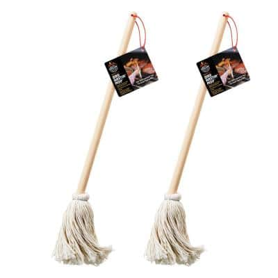 16 in. Wooden Handle BBQ - Grill Basting Mop with Cotton Head (2-Pack)