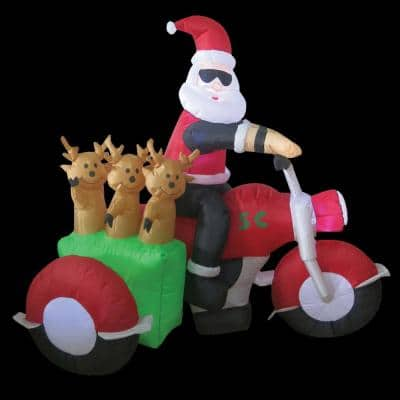 6 ft. W x 4 ft. H Santa on Motorcycle with 3 Reindeer in Sidecar Inflatable Airblown