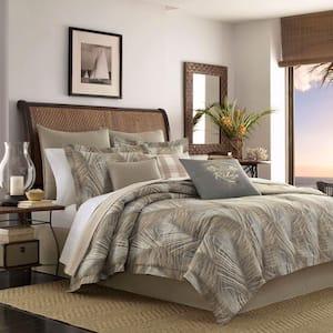 Raffia Palms 4-Piece Brown Botanical Cotton Queen Comforter Set