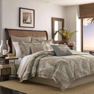 Raffia Palms 4-Piece Brown Botanical Cotton California King Comforter Set