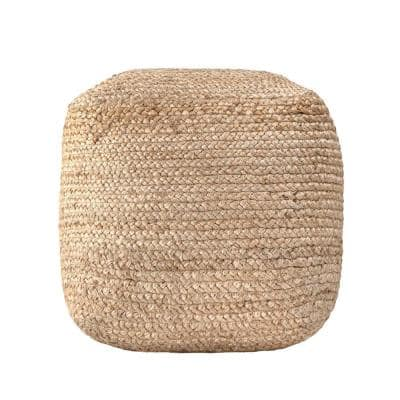 Cork Braided Solid Jute Filled Ottoman Natural Square Pouf