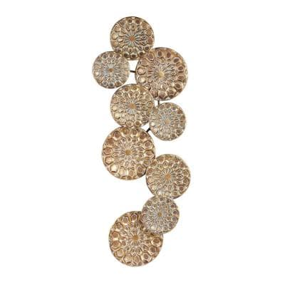 Gold Metal Eclectic Abstract Wall Decor 50 in. x 19 in.