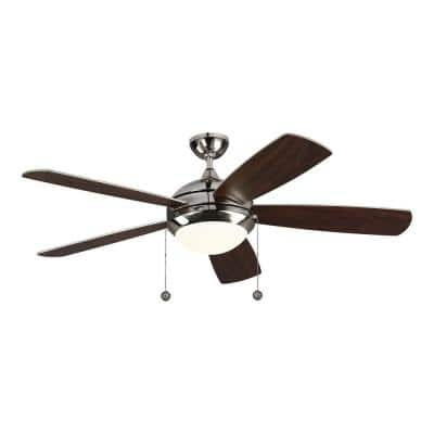 Discus Classic 52 in. Integrated LED Polished Nickel Ceiling Fan with Light Kit