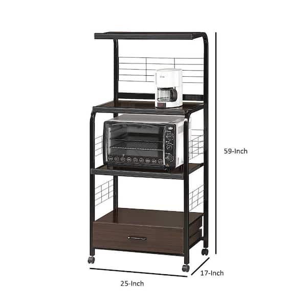Benjara Brown And Black Microwave Cart