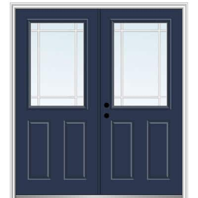 72 in. x 80 in. Prairie Internal Muntins Right-Hand Inswing 1/2-Lite Clear 2-Panel Painted Steel Prehung Front Door