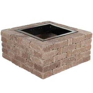 RumbleStone 38.5 in. x 17.5 in. Square Concrete Fire Pit Kit No. 6 in Cafe