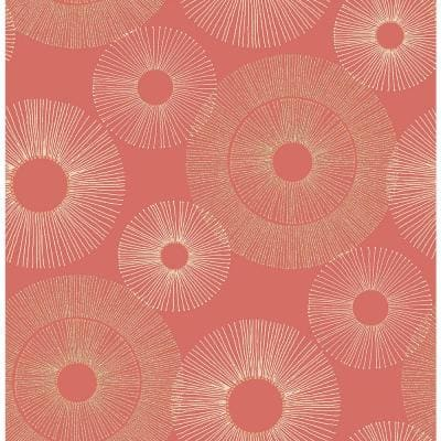 Eternity Coral Geometric Paper Strippable Roll Wallpaper (Covers 56.4 sq. ft.)
